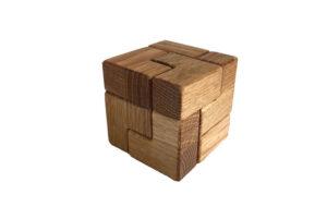 wooden elf cube puzzle