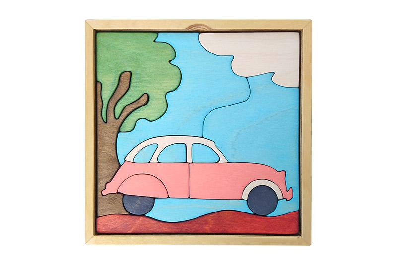 wooden puzzle - pink 2cv car landscape