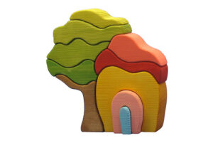 wooden tree and house stacking toy